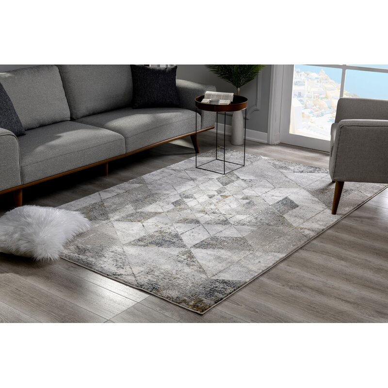 Ivy Bronx Kraus Abstract Gray Beige Area Rug Wayfair
