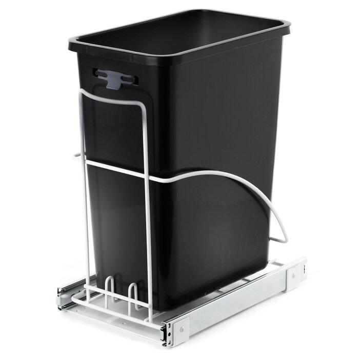 Kitchen Stainless Steel 7.6 Gallon Pull-Out Trash Can System