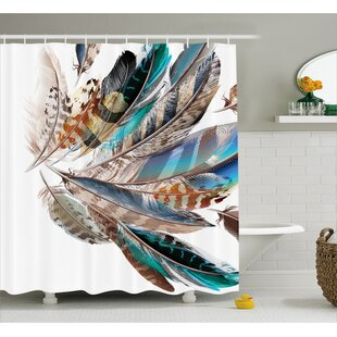 Contour Flight Feathers Decor Shower Curtain By East Urban Home