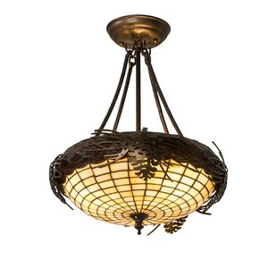Meyda Tiffany Greenbriar Oak Acorn 3-Light Semi Flush Mount