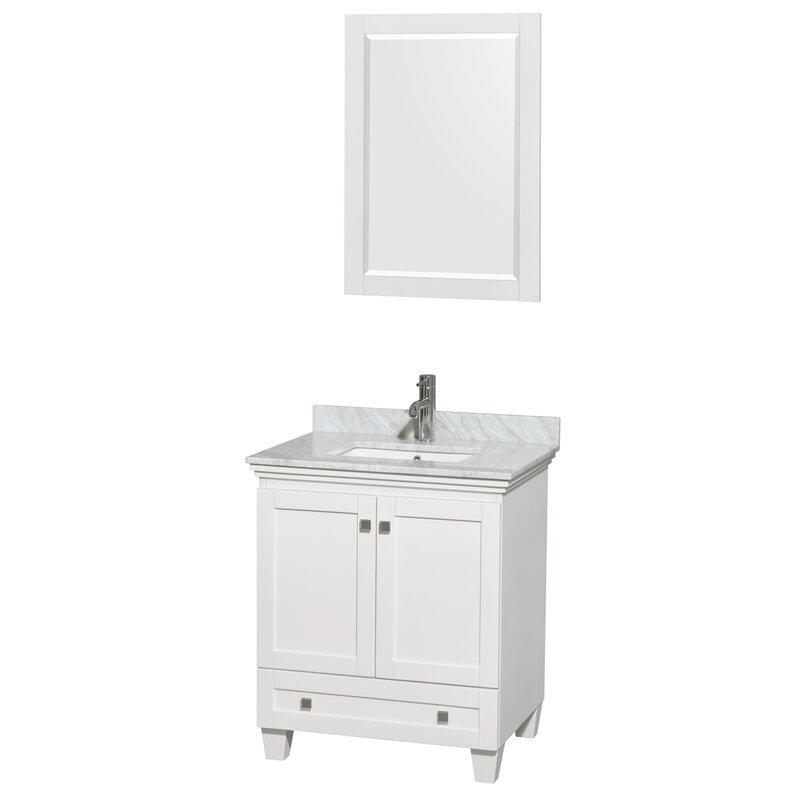 "Acclaim 30"" Single White Bathroom Vanity Set with Mirror"