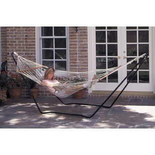 Hubert High Island Rope Cotton Hammock With Stand by Texsport Savings