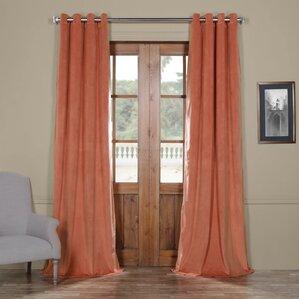 Sharpe Solid Velvet Blackout Thermal Grommet Single Curtain Panel