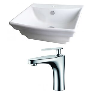 Best Reviews Ceramic Rectangular Vessel Bathroom Sink with Faucet and Overflow By American Imaginations