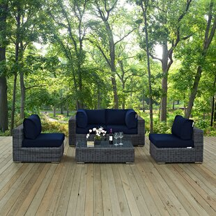 Modway Summon 5 Piece Sunbrella Sectional Set with Cushions