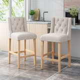 Lampman Button Tufted Fabric Wingback 31 Bar Stool (Set of 2) by Red Barrel Studio®
