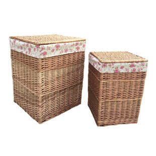Square Garden Rose Lining Wicker 2 Piece Laundry Set By August Grove