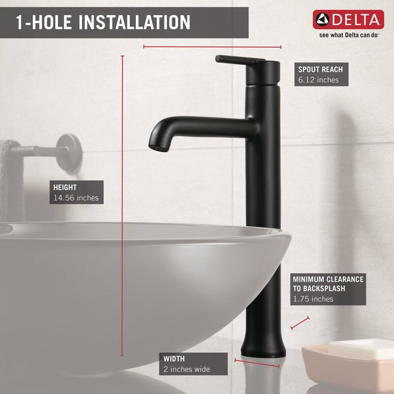 Admirable Trinsic Vessel Sink Bathroom Faucet And Diamond Seal Technology Interior Design Ideas Helimdqseriescom