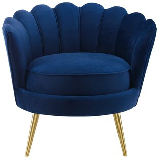 Demers Scalloped Edge Performance Velvet Accent Barrel Chair