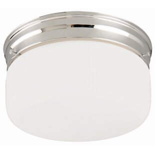 Wrought Studio Rath 2-Light Flush Mount with White Opal Glass