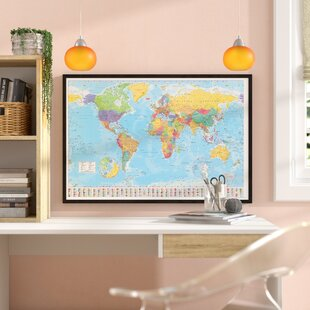 World map cork board wayfair world map framed graphic art print poster gumiabroncs Image collections