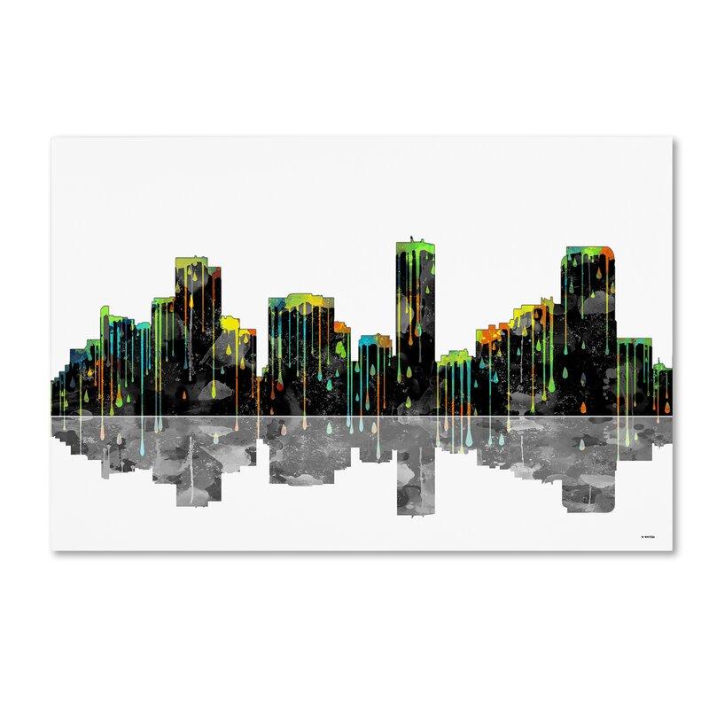 Trademark Art Denver Colorado Skyline Graphic Art On Wrapped Canvas Wayfair