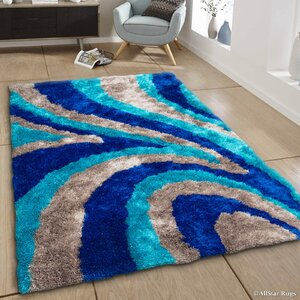 Hand-Tufted Blue/Brown Area Rug
