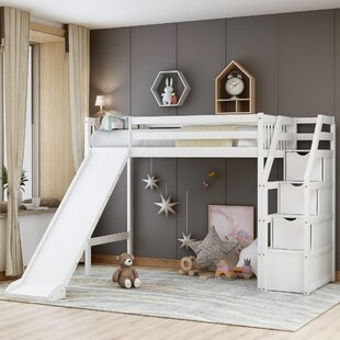 Acton Twin Loft Bed with Shelves