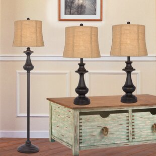 Darby Home Co Cathleen 3 Piece Table and Floor Lamp Set