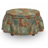 Vintage Grunge Flowers 2 Piece Box Cushion Ottoman Slipcover Set by East Urban Home