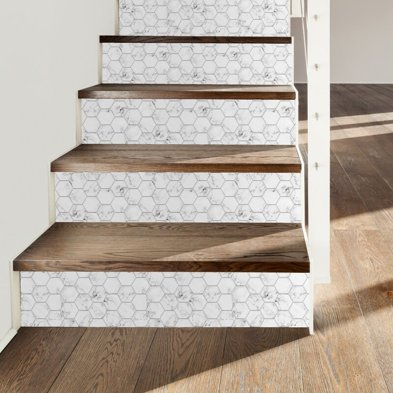 "Carrara 11"" x 11"" PVC Peel & Stick Mosaic Tile"