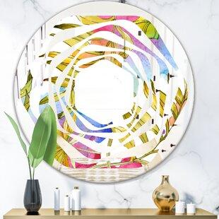 Whirl Tropical Foliage IV Coastal Frameless Wall Mirror by East Urban Home