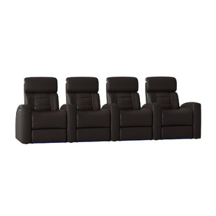 Diamond Stitch Home Theater Row Seating with Chaise Footrest (Row of 4)