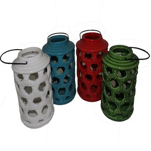 Buy clear Cylinder Ceramic Lantern (Set of 4) By Bloomsbury Market