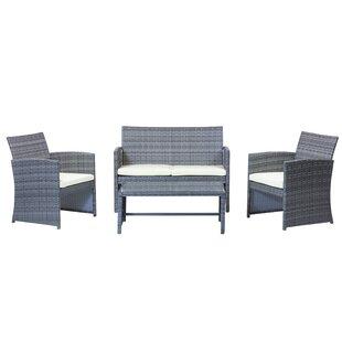 Design Tree Home 4 Piece Rattan Sofa Seating Group