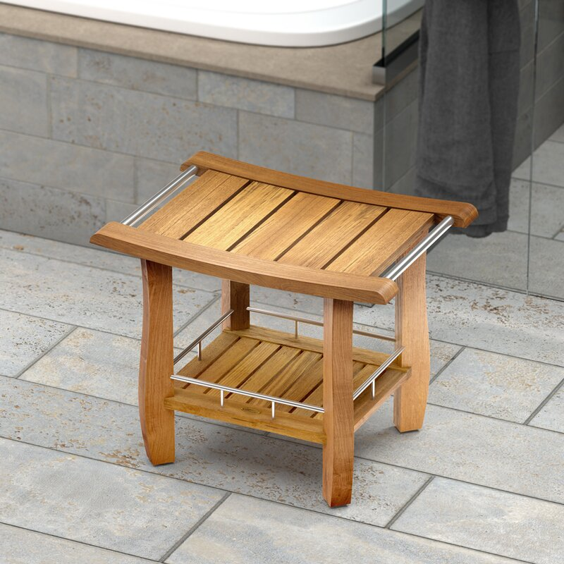 Gatco Teak Fully Assembled Rectangle Shower Seat | Wayfair