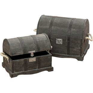 Inexpensive Treasure Chest 2 Piece Solid and Manufactured Wood Box Set ByLongshore Tides