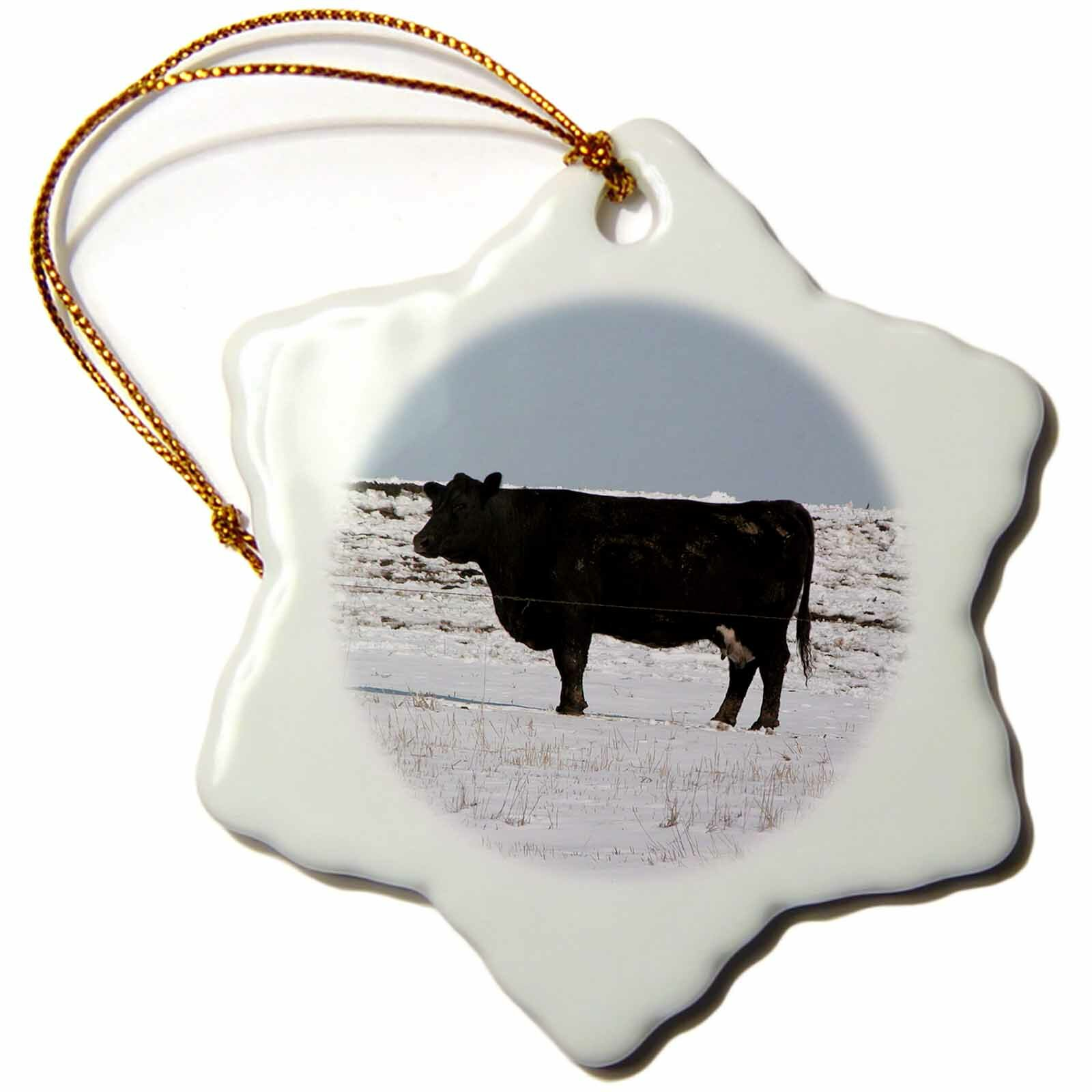 The Holiday Aisle Black Cow In The Snow Holiday Shaped Ornament Wayfair