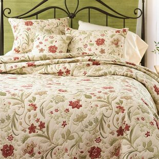 Jacobean Cotton 3 Piece Vine Quilt Set