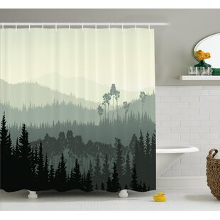 Bargain Burroway The Panorama of a Valley and a Mystic Forest of Pine Trees Shower Curtain ByLoon Peak