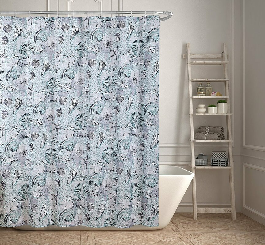 Beach and Seashells Printed Shower Curtain
