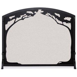Grand Oak Single Panel Iron Fireplace Screen By Pilgrim Hearth