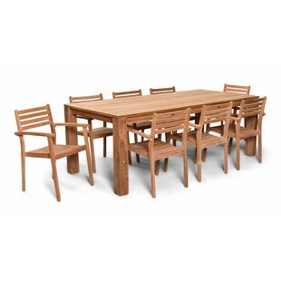 Culbertson 9 Piece Dining Set Teak with Sunbrella Cushions