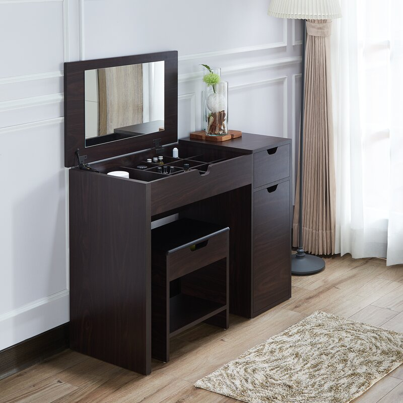 vanity desk with mirror and drawers. Kistner Vanity Set with Mirror Makeup Tables and Vanities You ll Love  Wayfair
