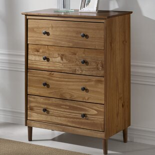 George Oliver Alexzander Solid Wood 4 Drawer Dresser
