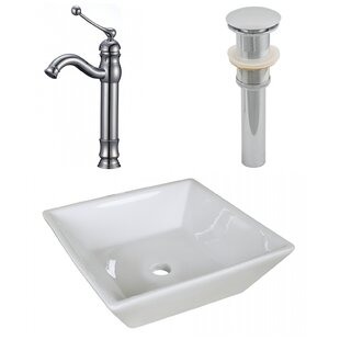 Best Reviews Ceramic Square Vessel Bathroom Sink with Faucet and Overflow ByAmerican Imaginations