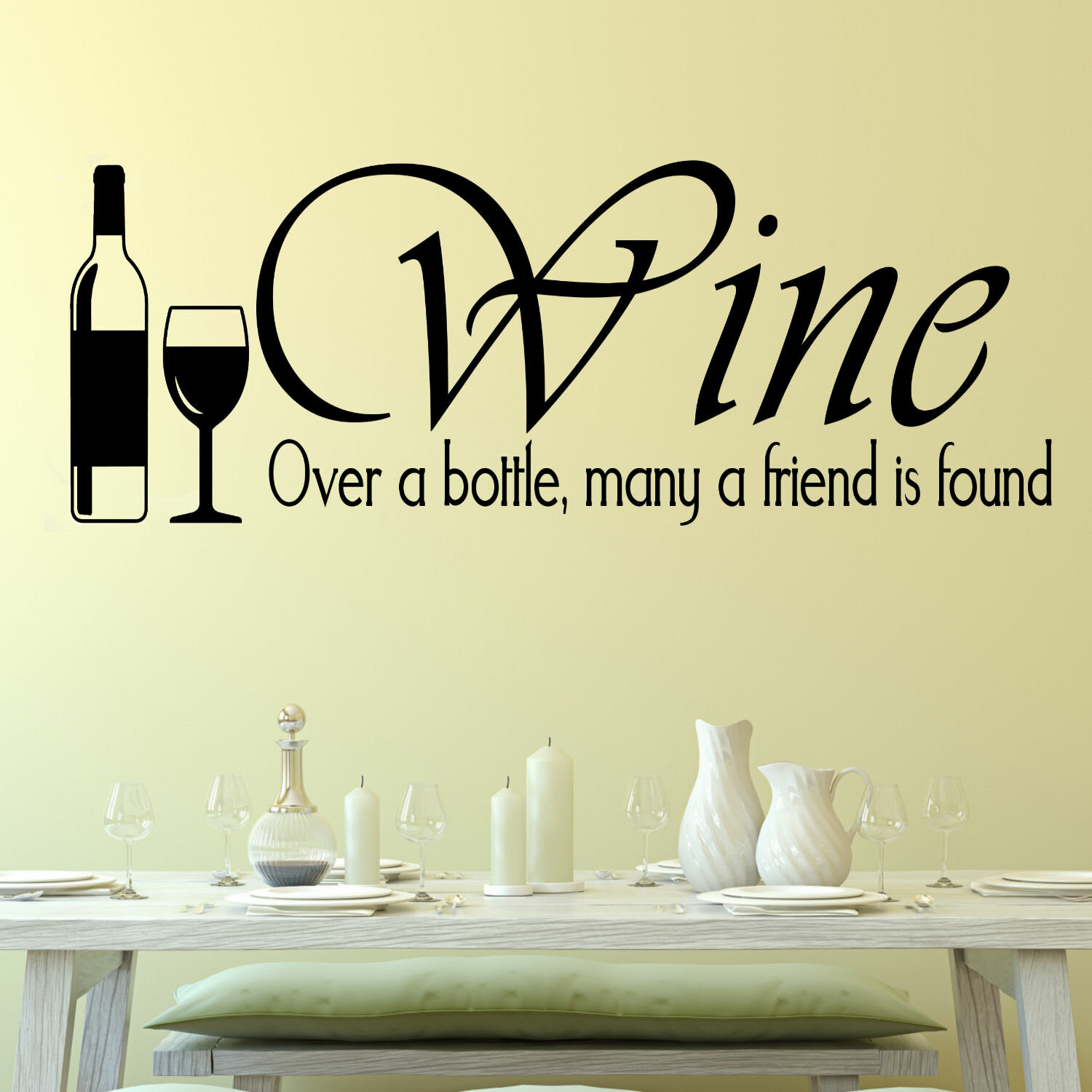 DecaltheWalls Wine, Over a Bottle Wall Decal | Wayfair