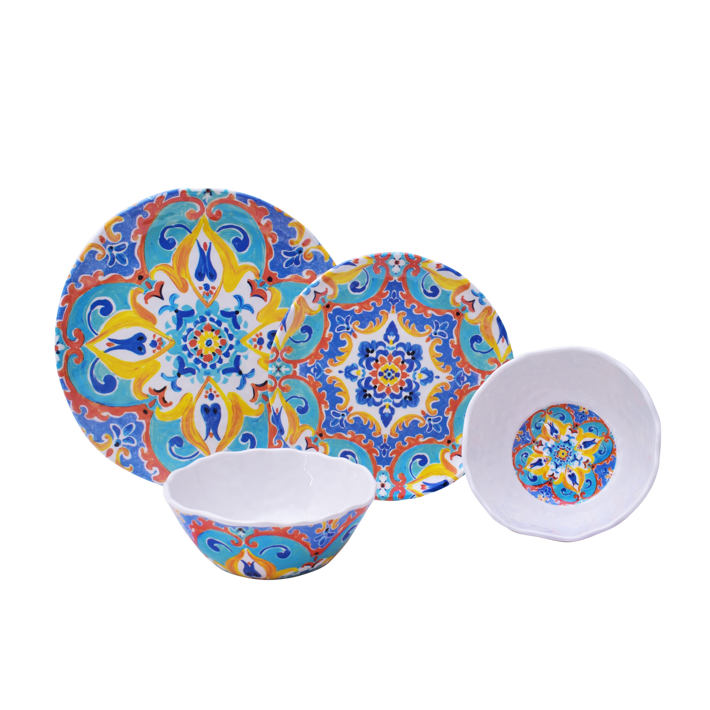 sc 1 st  Joss \u0026 Main & Romella 12 Piece Melamine Dinnerware Set Service for 4 | Joss \u0026 Main