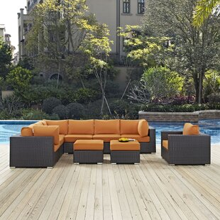 Latitude Run Ryele 9 Piece Rattan Sectional Set with Cushions