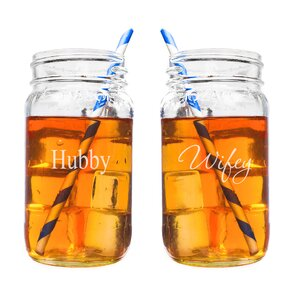 Hubby and Wifey 26 oz. Mason Jar Set (Set of 2)