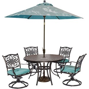 Three Posts Lauritsen 5 Piece Swivel Dining Set with Cushions