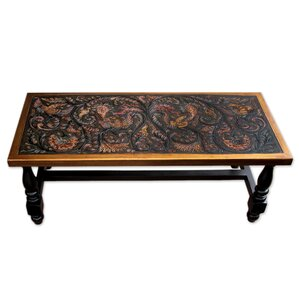 Clarkdale Birds Mohena Wood and Leather Coffee Table by Bloomsbury Market