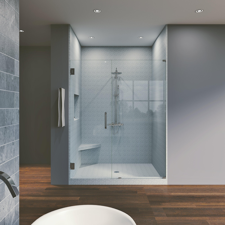 "Waterfall Bath Enclosures 58"" X 76"" Hinged Frameless Shower Door & Reviews | Wayfair"