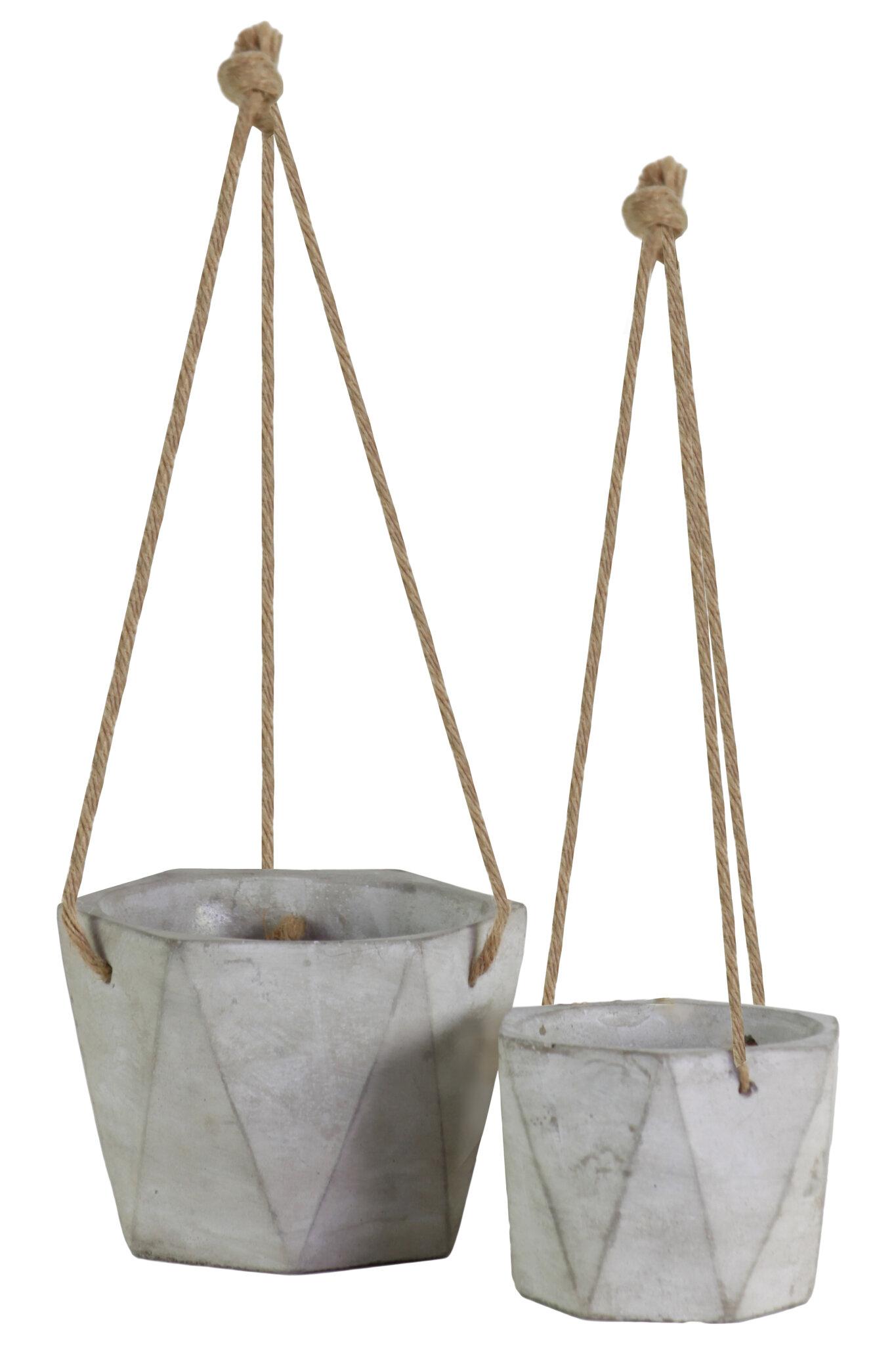 Longshore Tides Lawson 2 Piece Cement Hanging Planter Set Wayfair