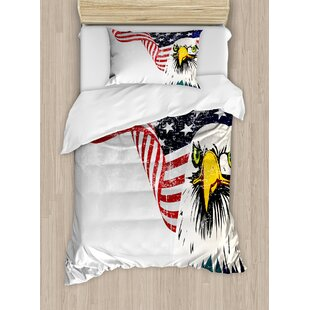 American Flag Eagle with Grunge Effect 4th of July USA Country Independence Image Duvet Set by Ambesonne