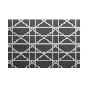 Felles Geometric Print Gray Indoor/Outdoor Area Rug