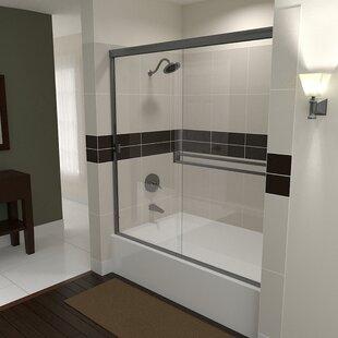 Inexpensive TE 60 x 57.38 Bypass Semi-Frameless Tub Door ByArizona Shower Door