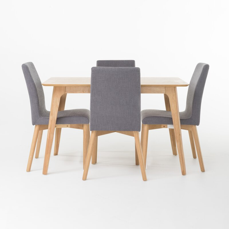 Mercury Row  Liles 5 Piece Dining Set Table Color: Natural Oak, Chair Finish: Dark Gray