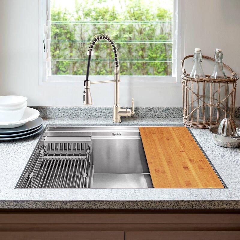 Akdy 32 L X 18 W Undermount Kitchen Sink With Faucet And Basket Strainer Wayfair