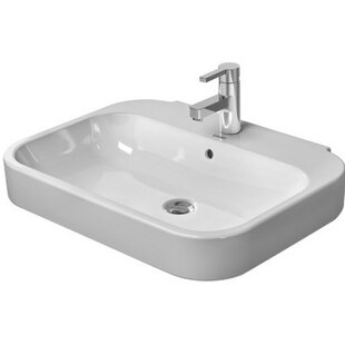 Affordable Happy D. Ceramic 32 Wall Mount Bathroom Sink with Overflow By Duravit